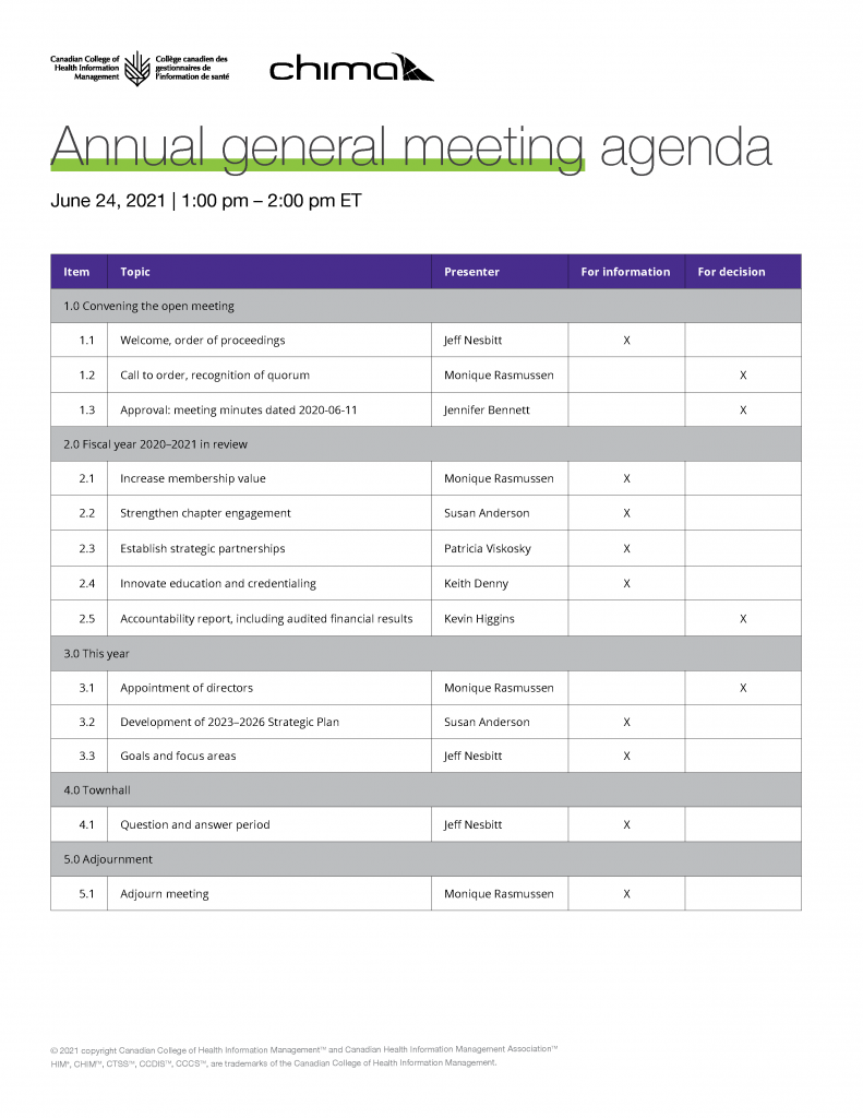 Screen capture of Canadian College of Health Information Management and CHIMA AGM agenda for June 24-2021