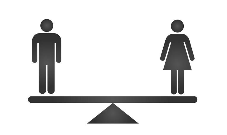 black male and female gender icons on scale