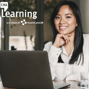 CHA Learning logo and a woman smiling behind a computer