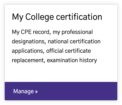 My College certification card