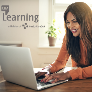 CHA Learning logo and woman looking at her computer typing