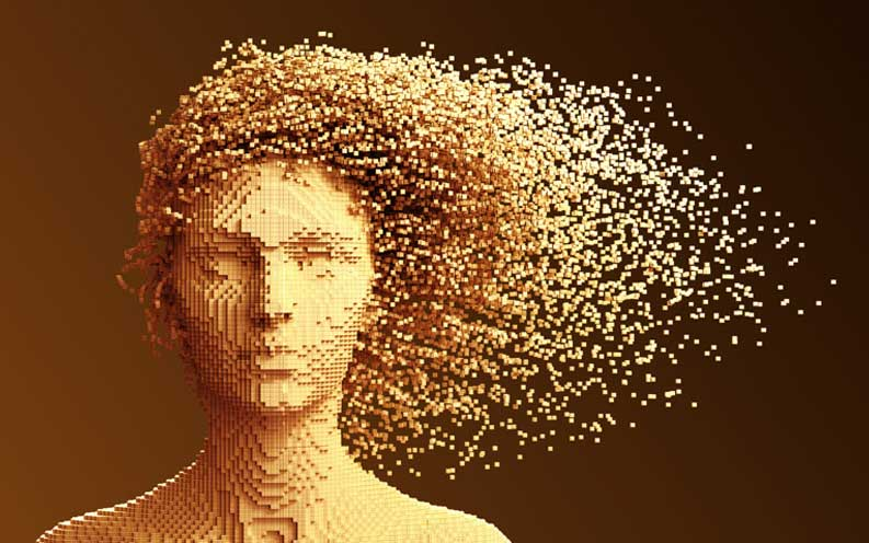 An illustration of a pixelated human.