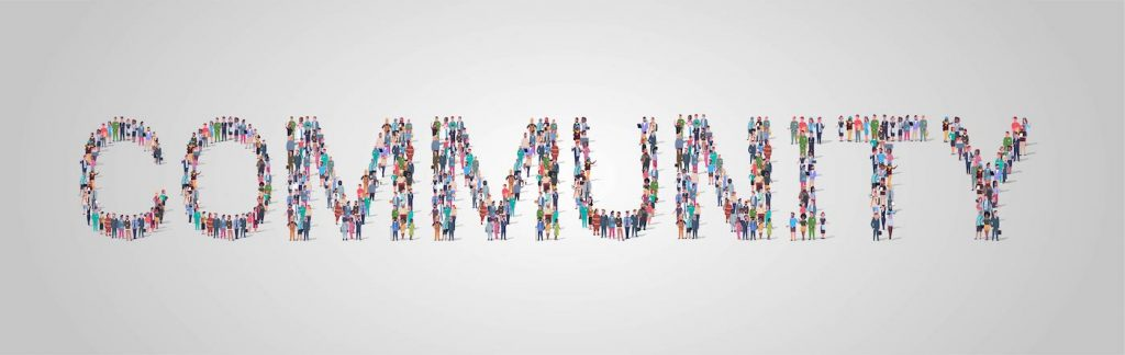 The word community made up of illustrated people