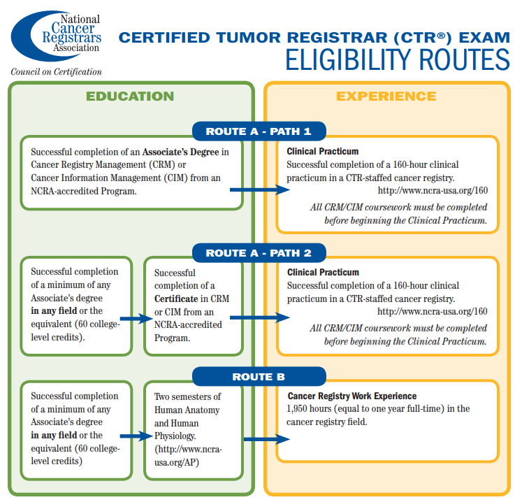Graphic showing three different educational paths to becoming a Certified Tumor Registrar.