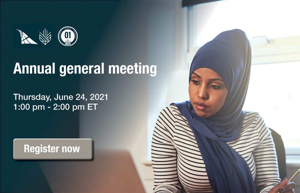A banner with information on the upcoming annual general meeting being held on Thursday, June 24 from 1:00-2:00 pm ET and a register now button