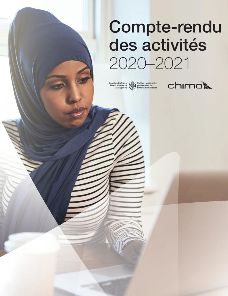 French title page for the Canadian College of Health Information Management and CHIMA FY 2020-21 Accountability Report